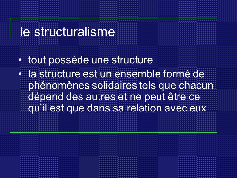 le structuralisme tout possède une structure la structure est un ensemble formé de phénomènes solidaires tels que chacun dépend des autres et ne peut
