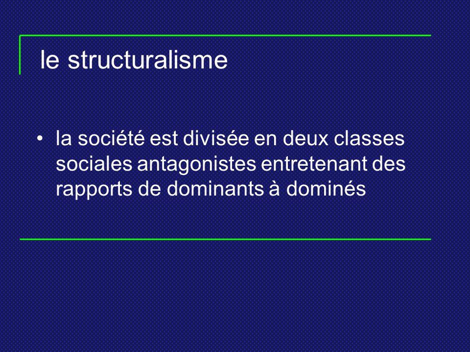 le structuralisme la société est divisée en deux classes sociales antagonistes entretenant des rapports de dominants à dominés