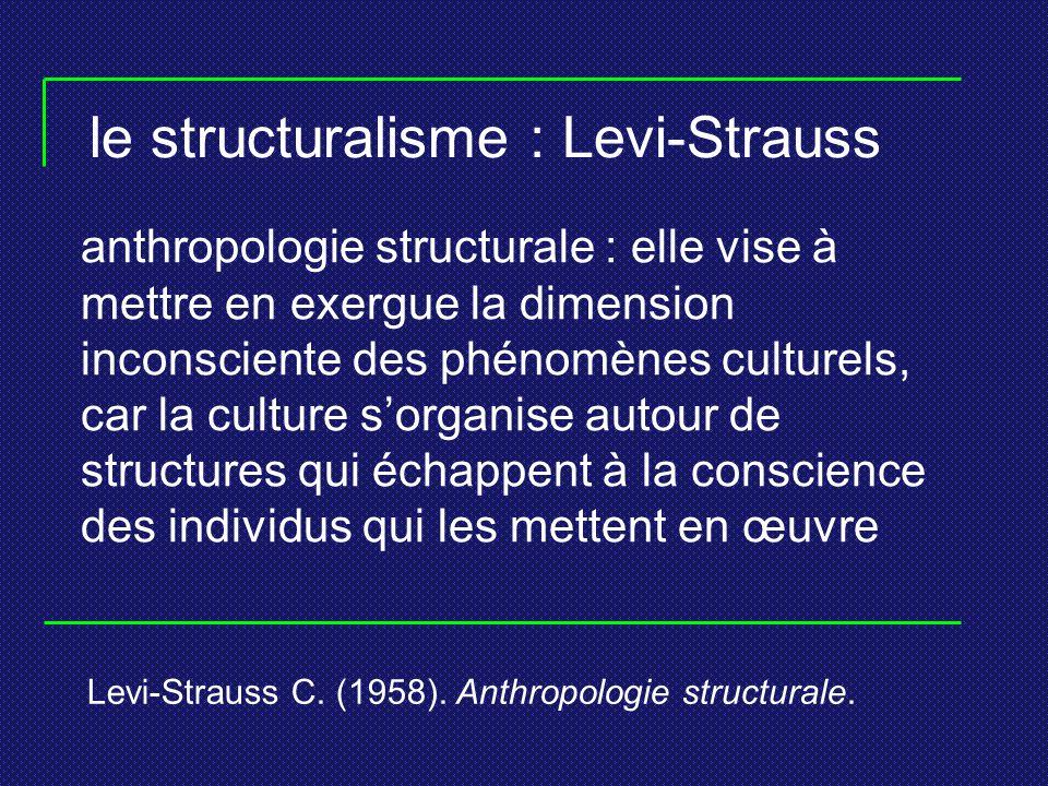 le structuralisme : Levi-Strauss anthropologie structurale : elle vise à mettre en exergue la dimension inconsciente des phénomènes culturels, car la