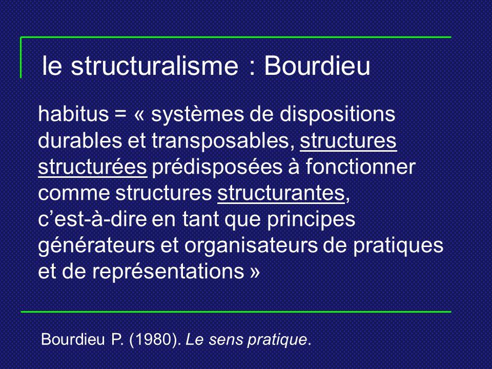 le structuralisme : Bourdieu habitus = « systèmes de dispositions durables et transposables, structures structurées prédisposées à fonctionner comme s