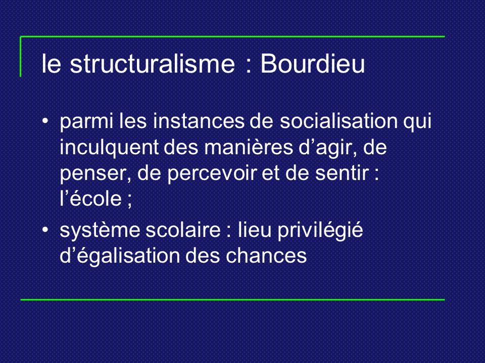 le structuralisme : Bourdieu parmi les instances de socialisation qui inculquent des manières dagir, de penser, de percevoir et de sentir : lécole ; s