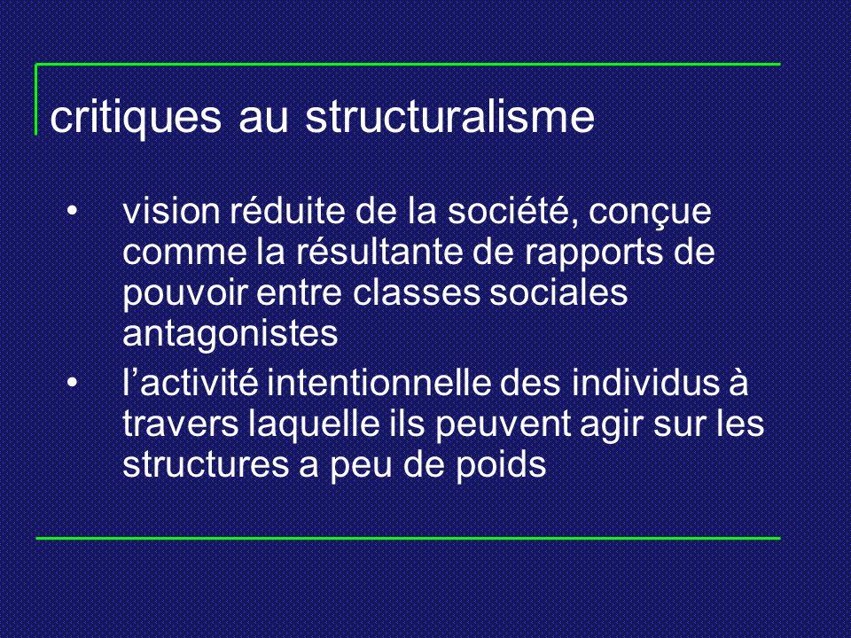 critiques au structuralisme vision réduite de la société, conçue comme la résultante de rapports de pouvoir entre classes sociales antagonistes lactiv