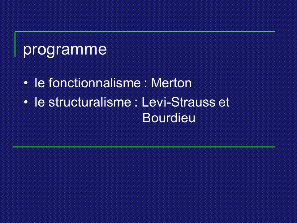 programme le fonctionnalisme : Merton le structuralisme : Levi-Strauss et Bourdieu