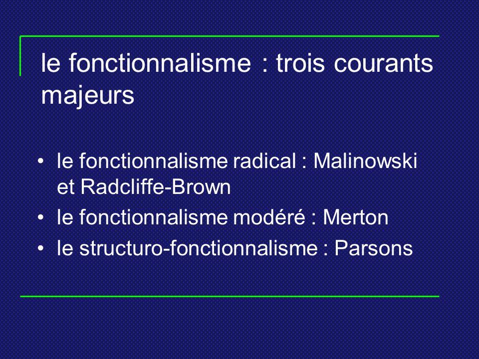 le fonctionnalisme : trois courants majeurs le fonctionnalisme radical : Malinowski et Radcliffe-Brown le fonctionnalisme modéré : Merton le structuro