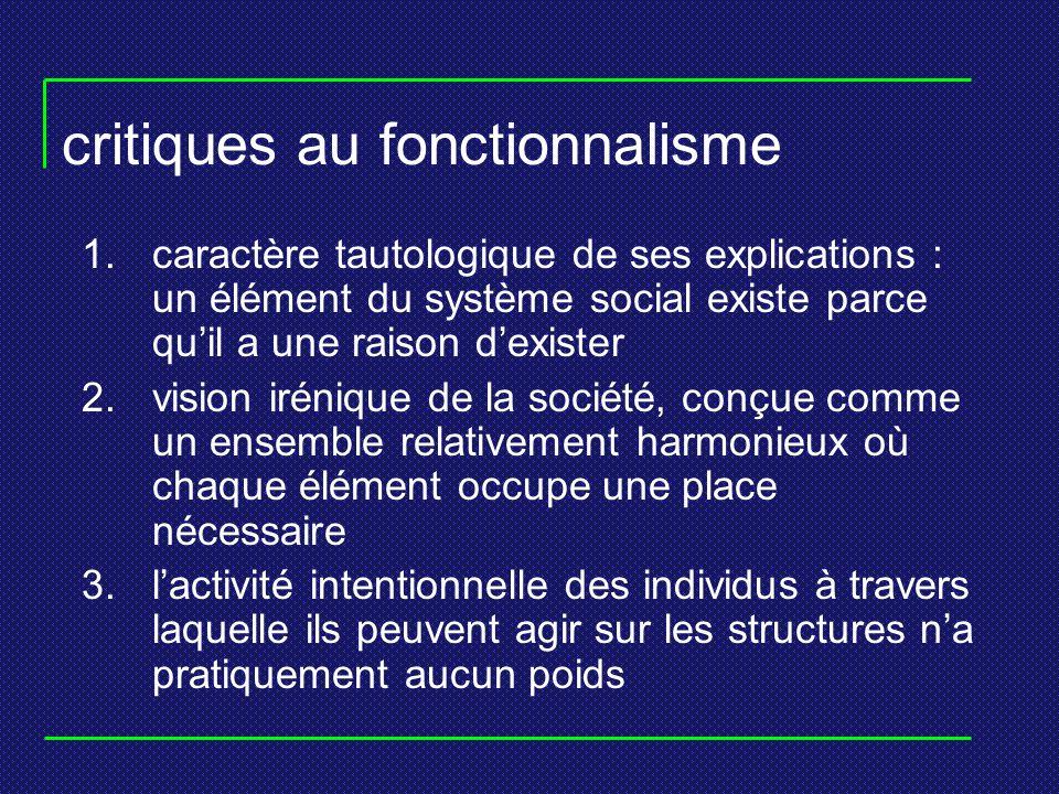 critiques au fonctionnalisme 1.caractère tautologique de ses explications : un élément du système social existe parce quil a une raison dexister 2.vis