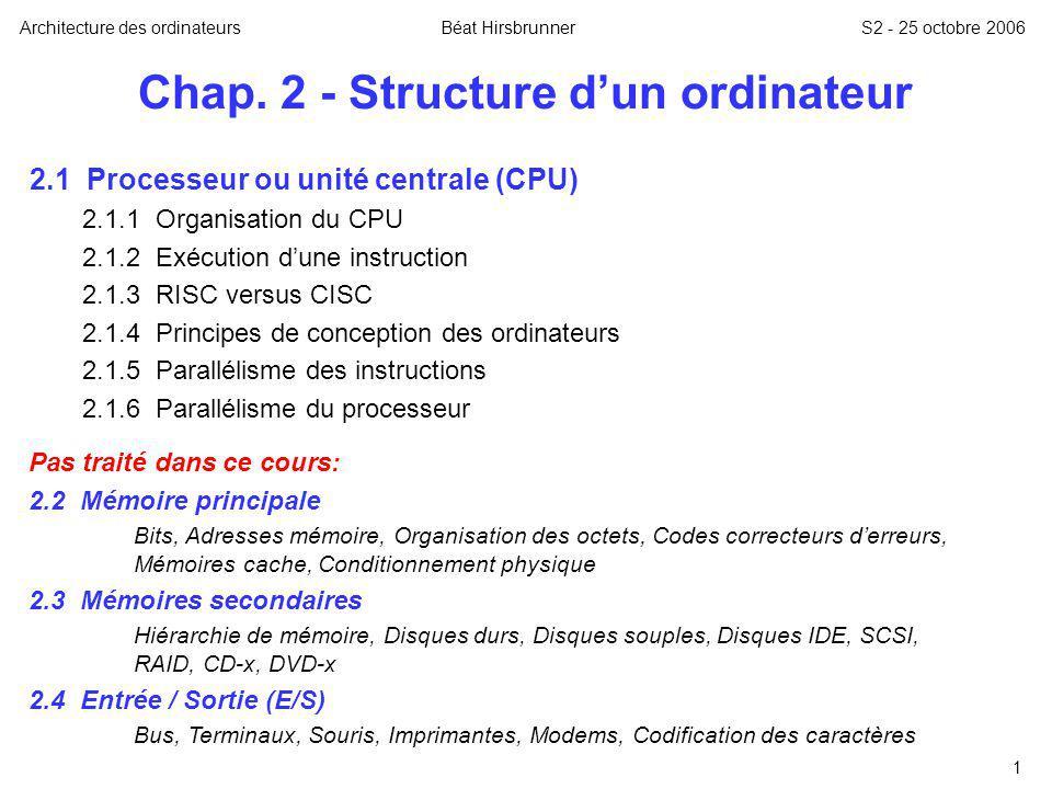 1 Chap. 2 - Structure dun ordinateur 2.1 Processeur ou unité centrale (CPU) 2.1.1 Organisation du CPU 2.1.2 Exécution dune instruction 2.1.3 RISC vers