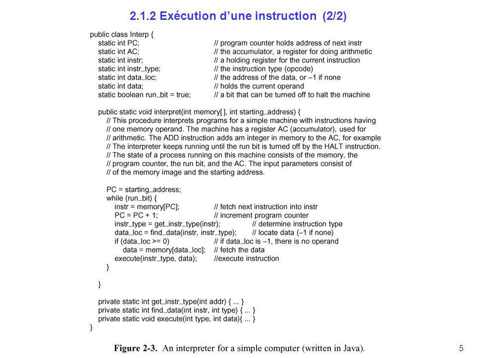 6 2.1.3 RISC versus CISC Jeux dinstructions réduites vs complexes RISC = Reduced Instruction Set Computer CISC = Complex Instruction Set Computer Tendance jusquen 1980: CISC IBM, Intel, Motorola, … Dès 1980: RISC (initié par IBM !!!) John Coke (IBM) David Petterson und Carlo Séquin (Berkeley) Hennessy (Stanford): MIPS und SPARC (Sun !) Aujourdhui CISC: Pentium (Intel), … RISC: PowerPC (Motorola, IBM, Apple), Alpha (DEC), …