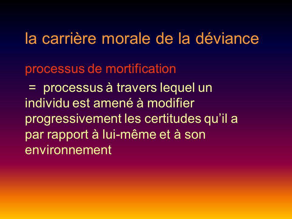 la carrière morale de la déviance processus de mortification = processus à travers lequel un individu est amené à modifier progressivement les certitu