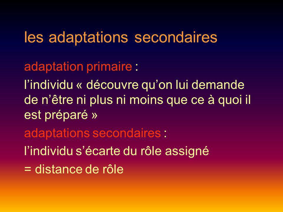 les adaptations secondaires adaptation primaire : lindividu « découvre quon lui demande de nêtre ni plus ni moins que ce à quoi il est préparé » adapt