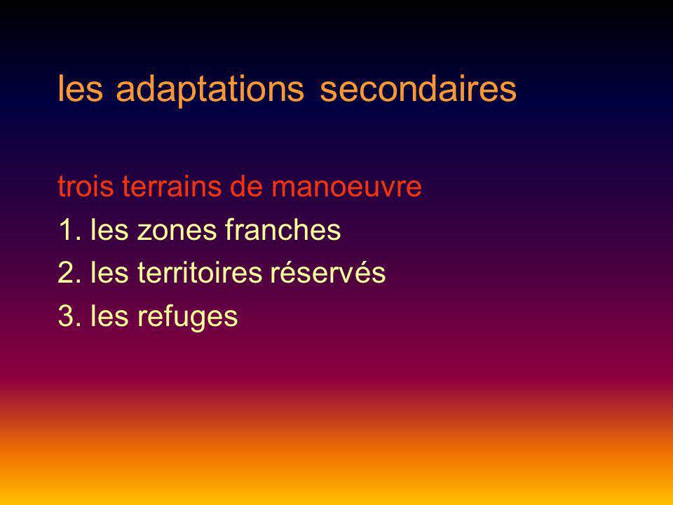 les adaptations secondaires trois terrains de manoeuvre 1. les zones franches 2. les territoires réservés 3. les refuges