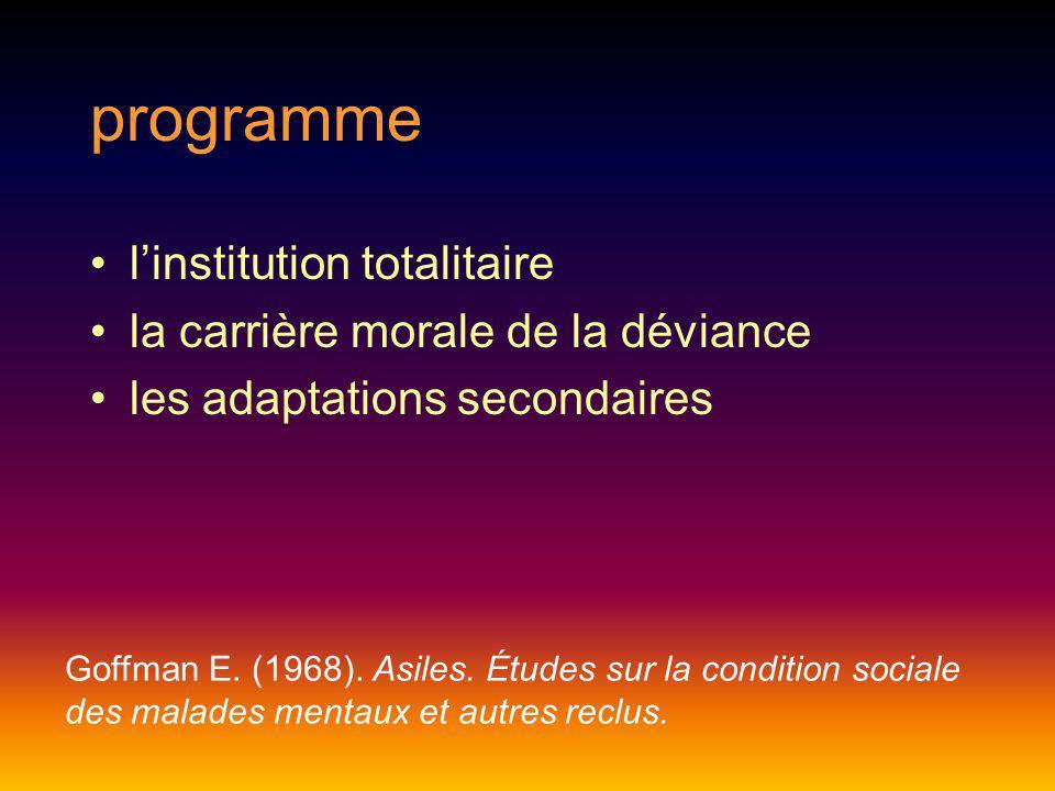 programme linstitution totalitaire la carrière morale de la déviance les adaptations secondaires Goffman E. (1968). Asiles. Études sur la condition so