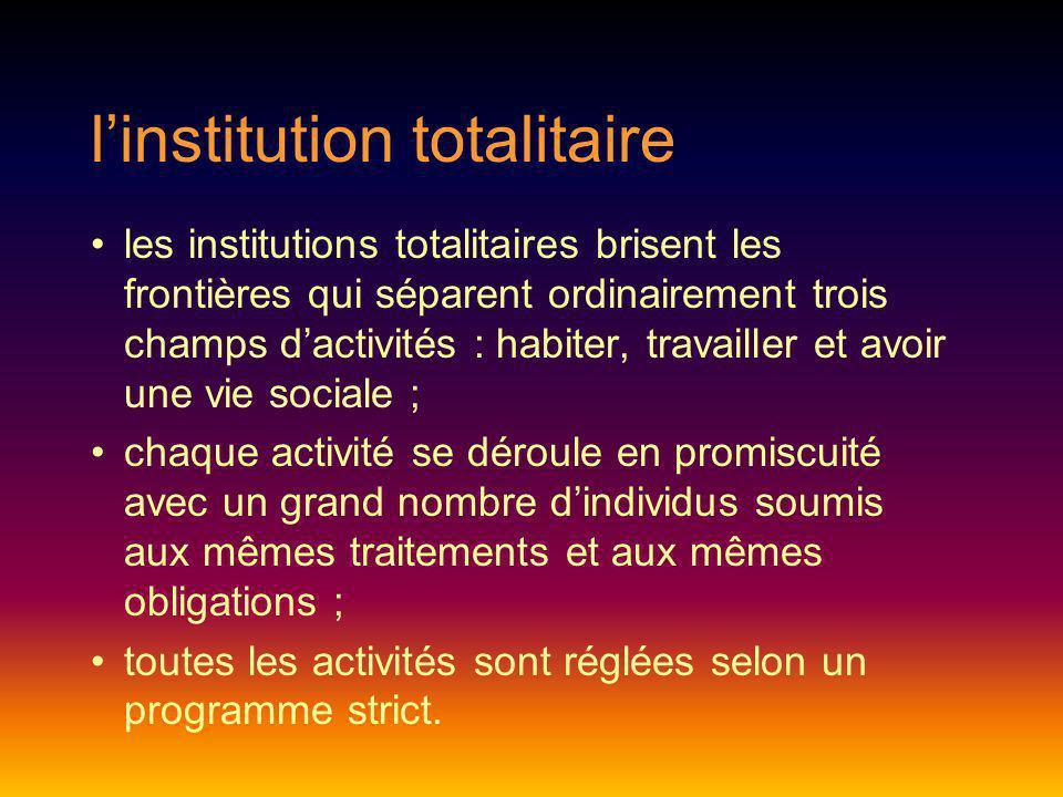 linstitution totalitaire les institutions totalitaires brisent les frontières qui séparent ordinairement trois champs dactivités : habiter, travailler