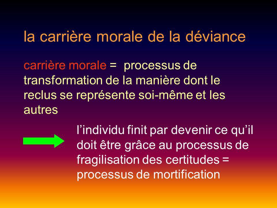 la carrière morale de la déviance carrière morale = processus de transformation de la manière dont le reclus se représente soi-même et les autres lind