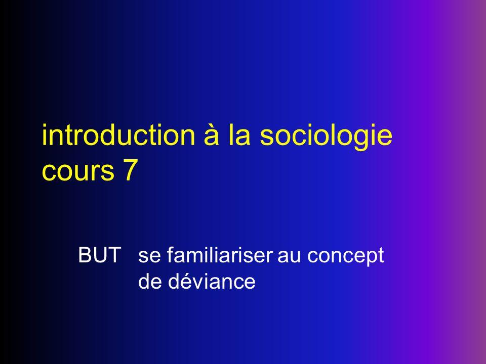 introduction à la sociologie cours 7 BUTse familiariser au concept de déviance