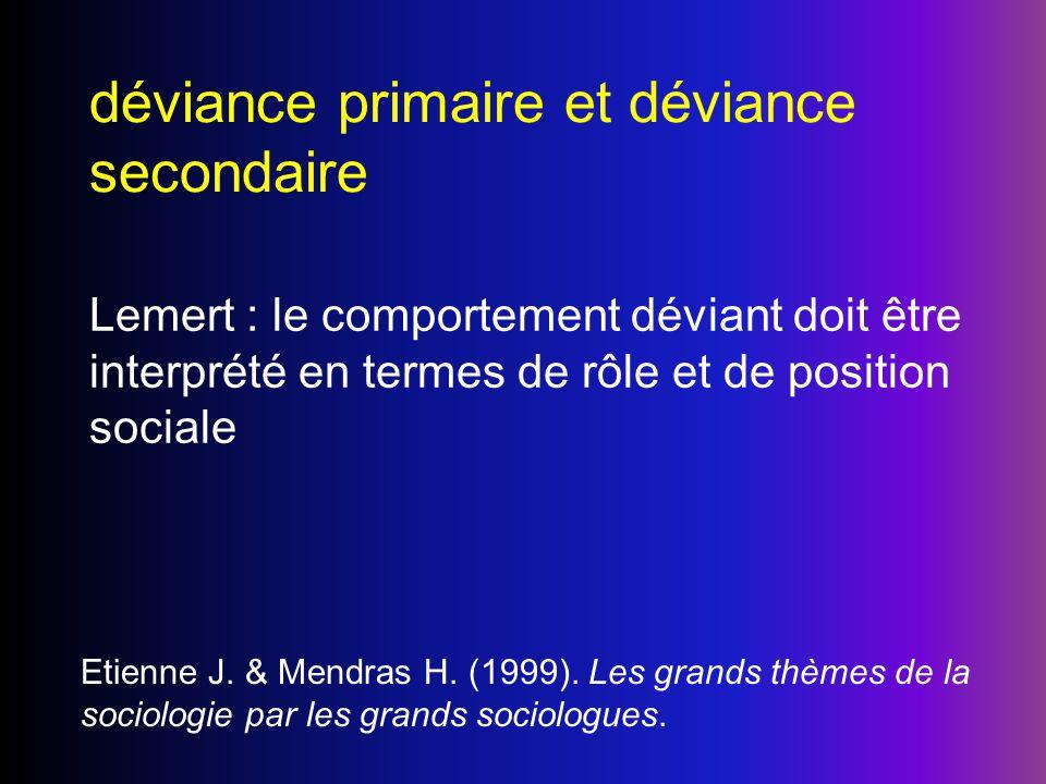 déviance primaire et déviance secondaire Lemert : le comportement déviant doit être interprété en termes de rôle et de position sociale Etienne J. & M
