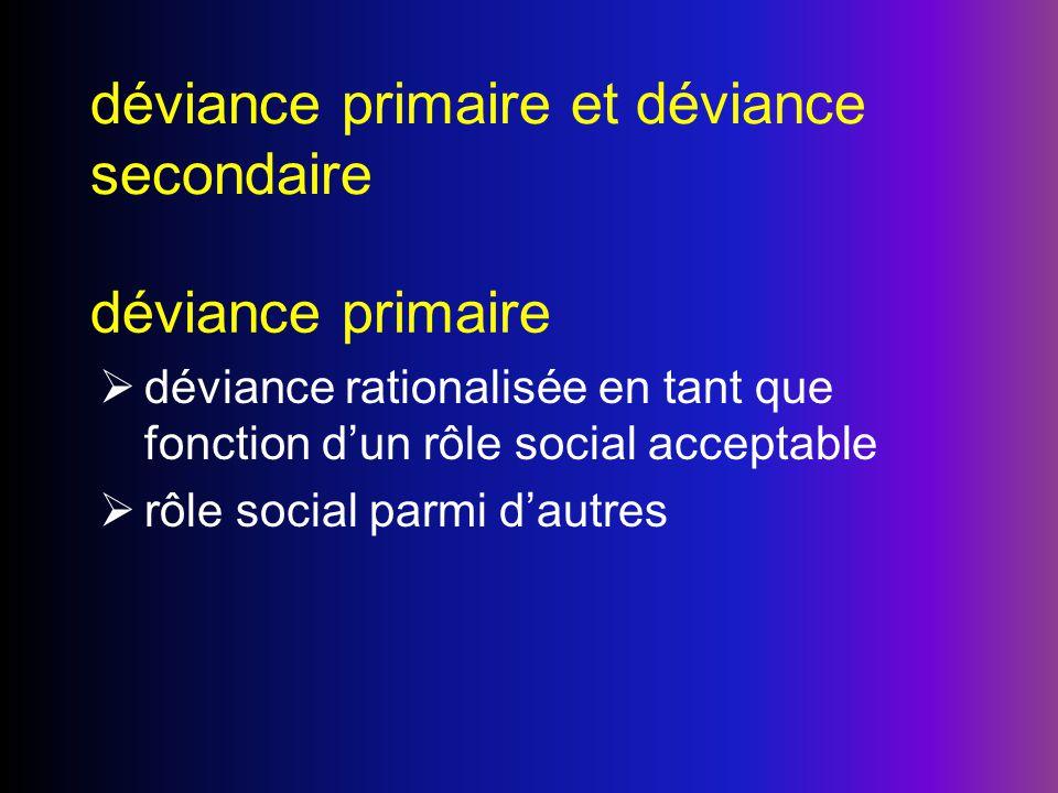 déviance primaire et déviance secondaire déviance primaire déviance rationalisée en tant que fonction dun rôle social acceptable rôle social parmi dau