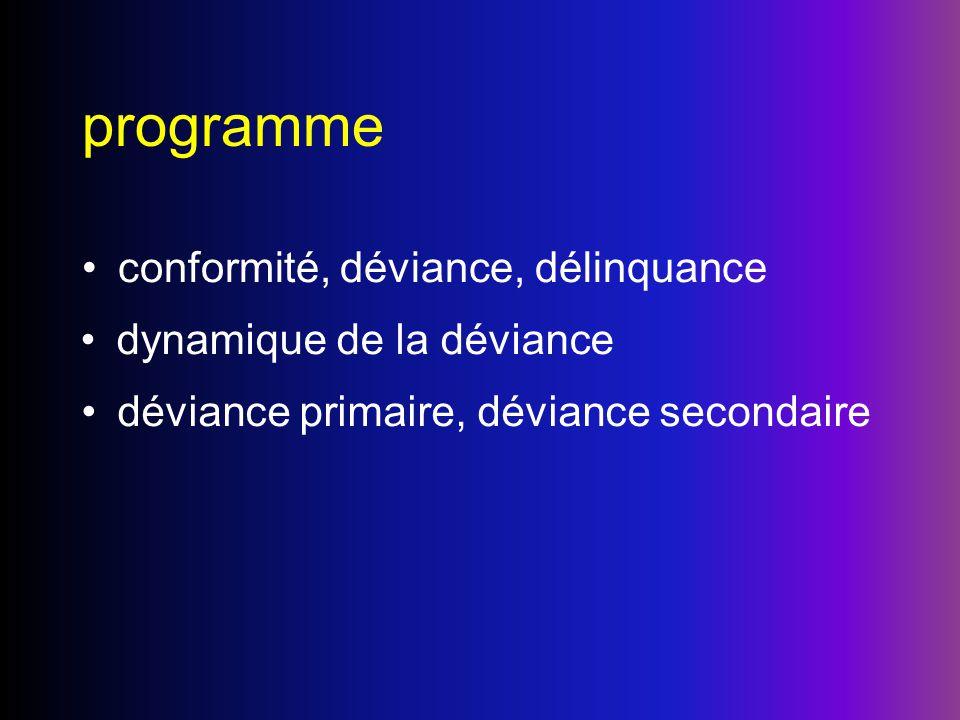 programme conformité, déviance, délinquance dynamique de la déviance déviance primaire, déviance secondaire