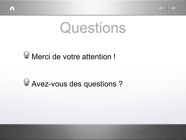 Questions Merci de votre attention ! Avez-vous des questions ?