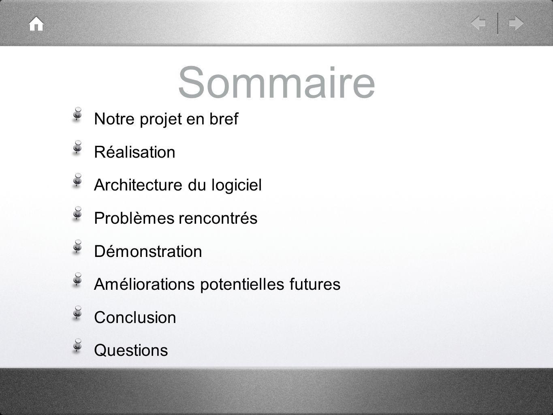 Sommaire Notre projet en bref Réalisation Architecture du logiciel Problèmes rencontrés Démonstration Améliorations potentielles futures Conclusion Questions