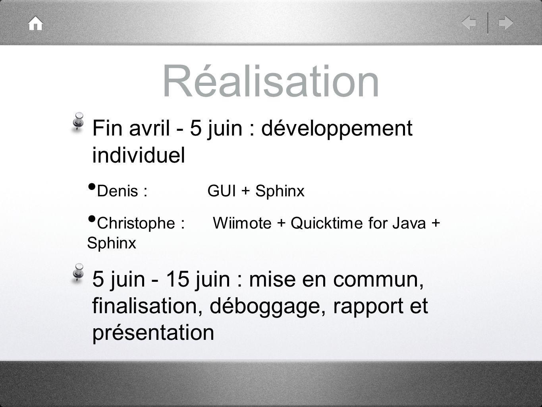 Architecture du logiciel (1) Composants utilisés : WiiRemoteJ + avetanaBluetooth Quicktime for Java Sphinx4
