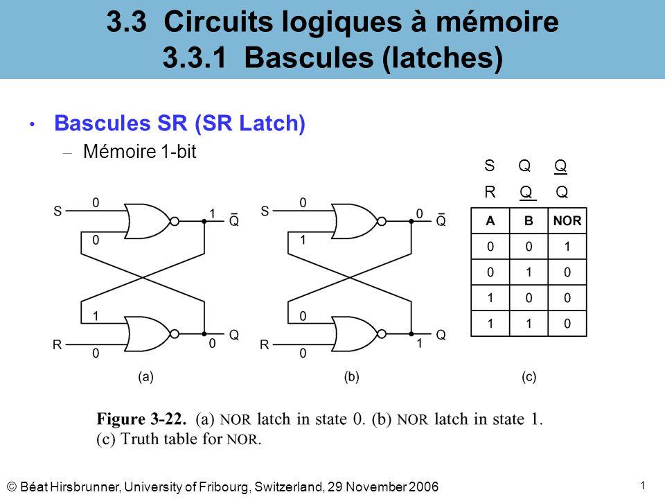1 3.3 Circuits logiques à mémoire 3.3.1 Bascules (latches) Bascules SR (SR Latch) Mémoire 1-bit S Q Q R Q Q © Béat Hirsbrunner, University of Fribourg