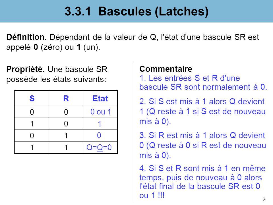 2 3.3.1 Bascules (Latches) Définition. Dépendant de la valeur de Q, l'état d'une bascule SR est appelé 0 (zéro) ou 1 (un). SREtat 00 10 01 11 Commenta