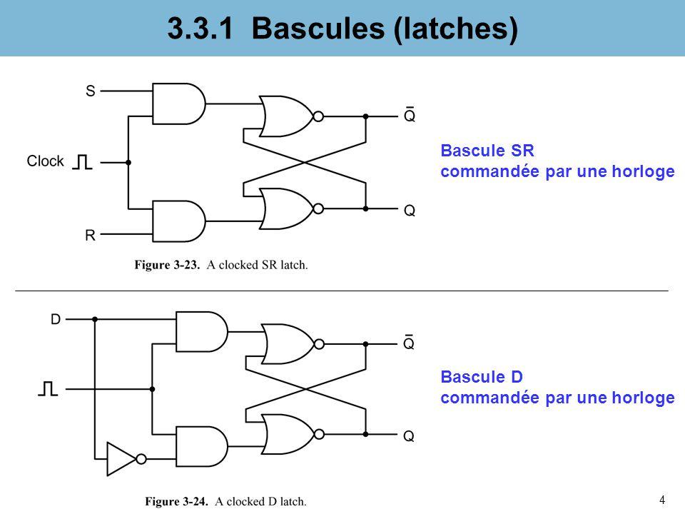 4 3.3.1 Bascules (latches) Bascule D commandée par une horloge Bascule SR commandée par une horloge