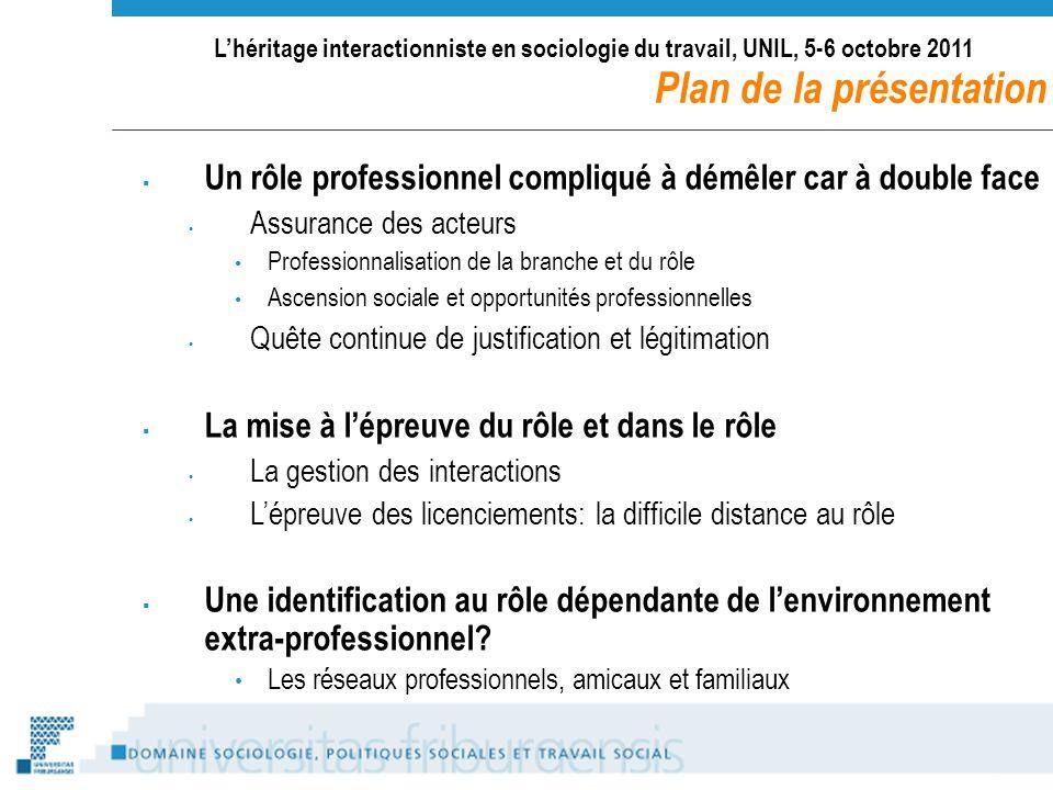 Lhéritage interactionniste en sociologie du travail, UNIL, 5-6 octobre 2011 Plan de la présentation Un rôle professionnel compliqué à démêler car à do