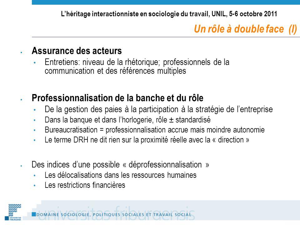 Lhéritage interactionniste en sociologie du travail, UNIL, 5-6 octobre 2011 Assurance des acteurs Entretiens: niveau de la rhétorique; professionnels