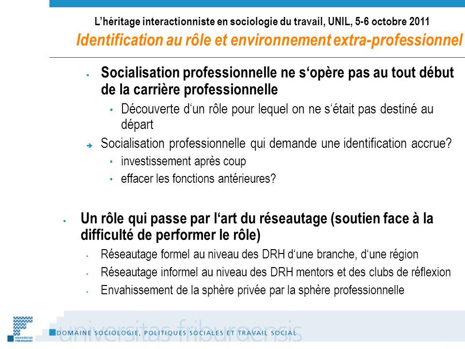 Lhéritage interactionniste en sociologie du travail, UNIL, 5-6 octobre 2011 Identification au rôle et environnement extra-professionnel Socialisation