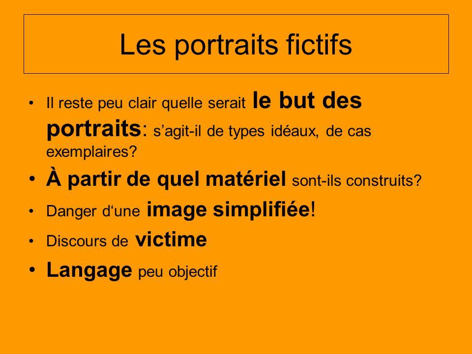Les portraits fictifs Il reste peu clair quelle serait le but des portraits : sagit-il de types idéaux, de cas exemplaires.