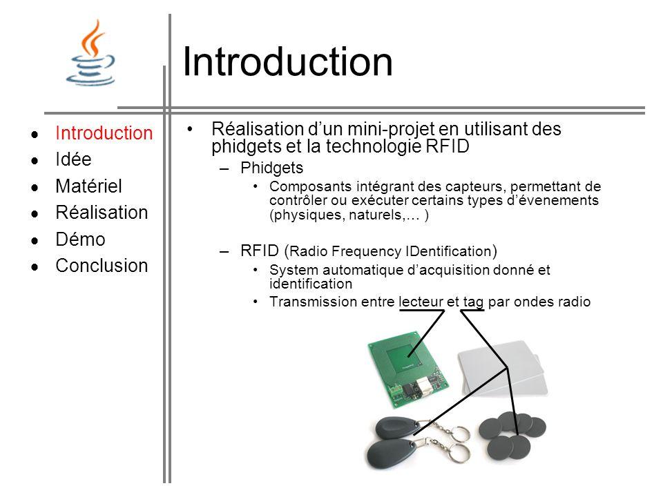 Introduction Réalisation dun mini-projet en utilisant des phidgets et la technologie RFID –Phidgets Composants intégrant des capteurs, permettant de c