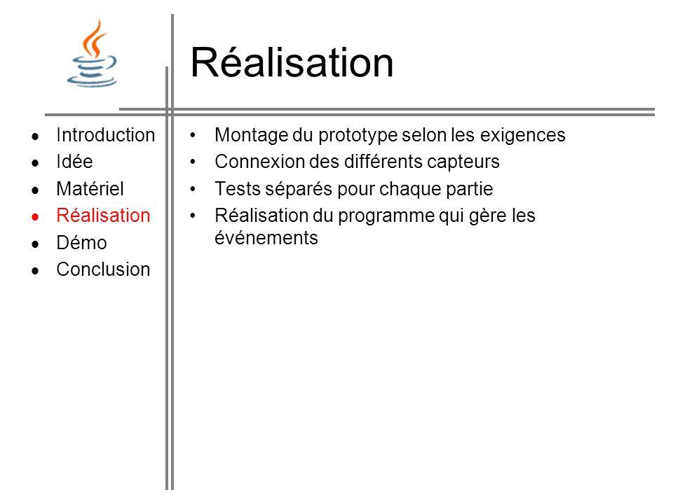 Demo Démonstration du projet: Introduction Idée Matériel Réalisation Démo Conclusion