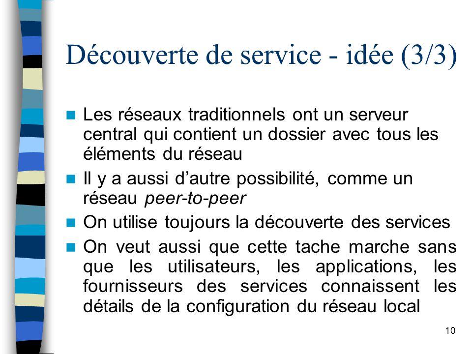 10 Découverte de service - idée (3/3) Les réseaux traditionnels ont un serveur central qui contient un dossier avec tous les éléments du réseau Il y a