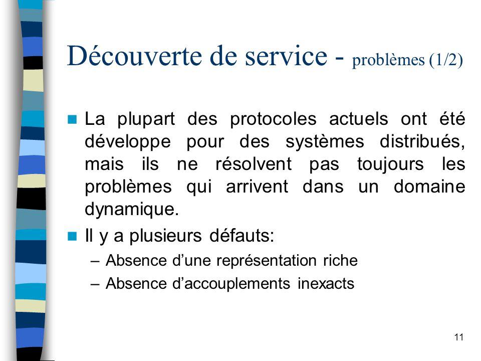 11 Découverte de service - problèmes (1/2) La plupart des protocoles actuels ont été développe pour des systèmes distribués, mais ils ne résolvent pas toujours les problèmes qui arrivent dans un domaine dynamique.