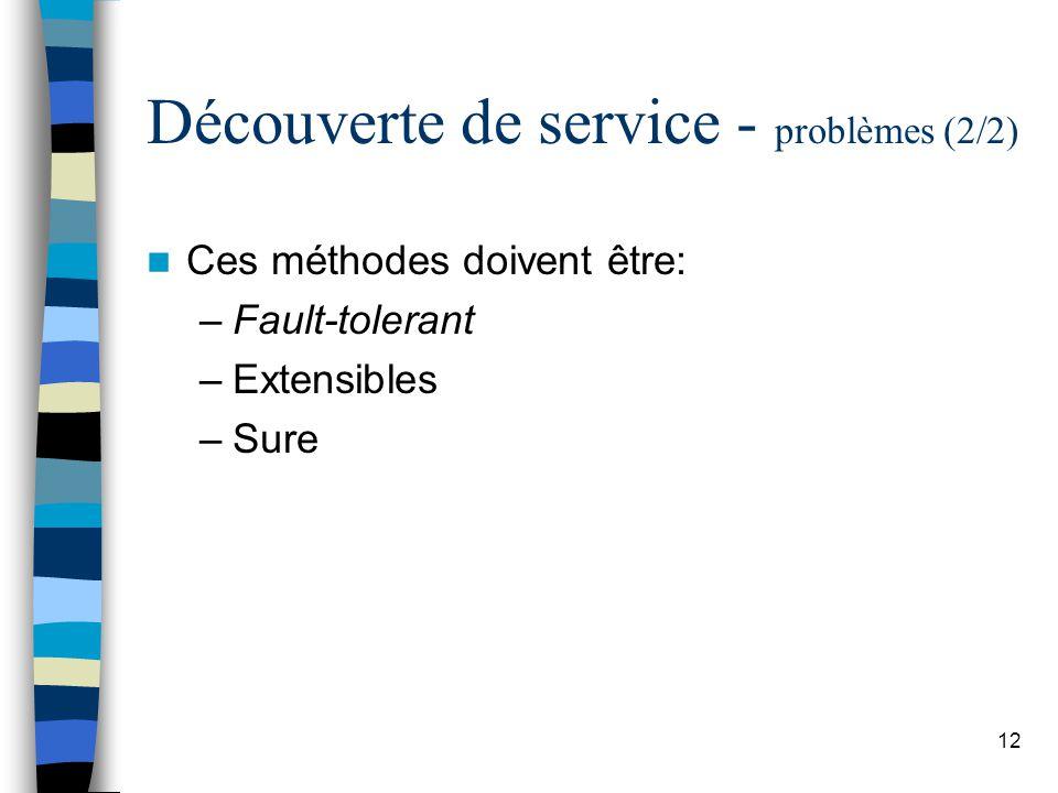 12 Découverte de service - problèmes (2/2) Ces méthodes doivent être: –Fault-tolerant –Extensibles –Sure