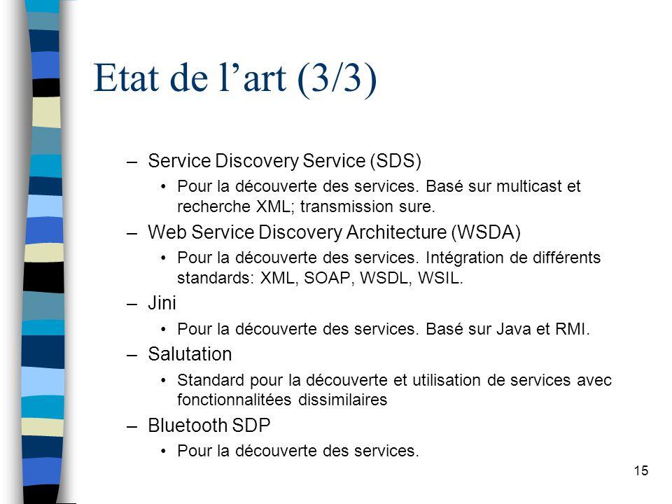 15 Etat de lart (3/3) –Service Discovery Service (SDS) Pour la découverte des services. Basé sur multicast et recherche XML; transmission sure. –Web S