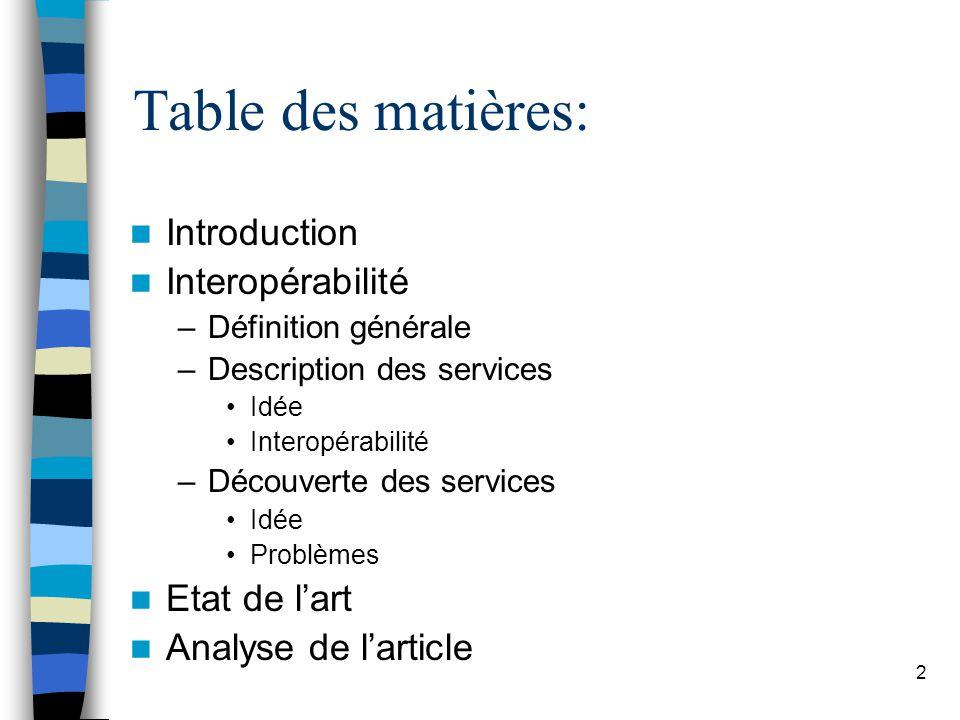 2 Table des matières: Introduction Interopérabilité –Définition générale –Description des services Idée Interopérabilité –Découverte des services Idée Problèmes Etat de lart Analyse de larticle