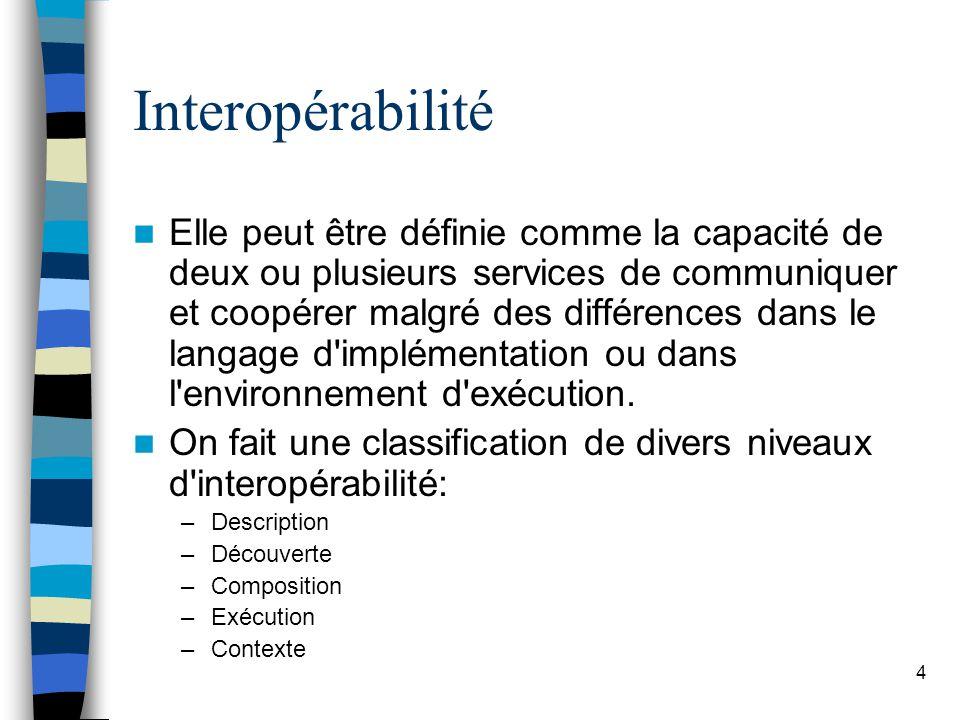 4 Interopérabilité Elle peut être définie comme la capacité de deux ou plusieurs services de communiquer et coopérer malgré des différences dans le langage d implémentation ou dans l environnement d exécution.