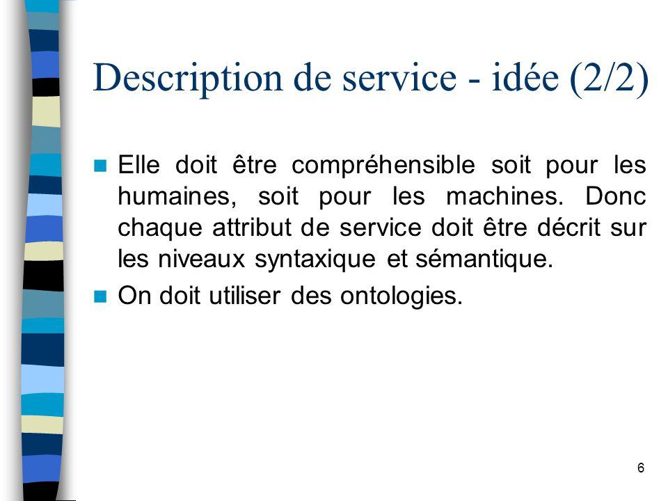 6 Description de service - idée (2/2) Elle doit être compréhensible soit pour les humaines, soit pour les machines. Donc chaque attribut de service do