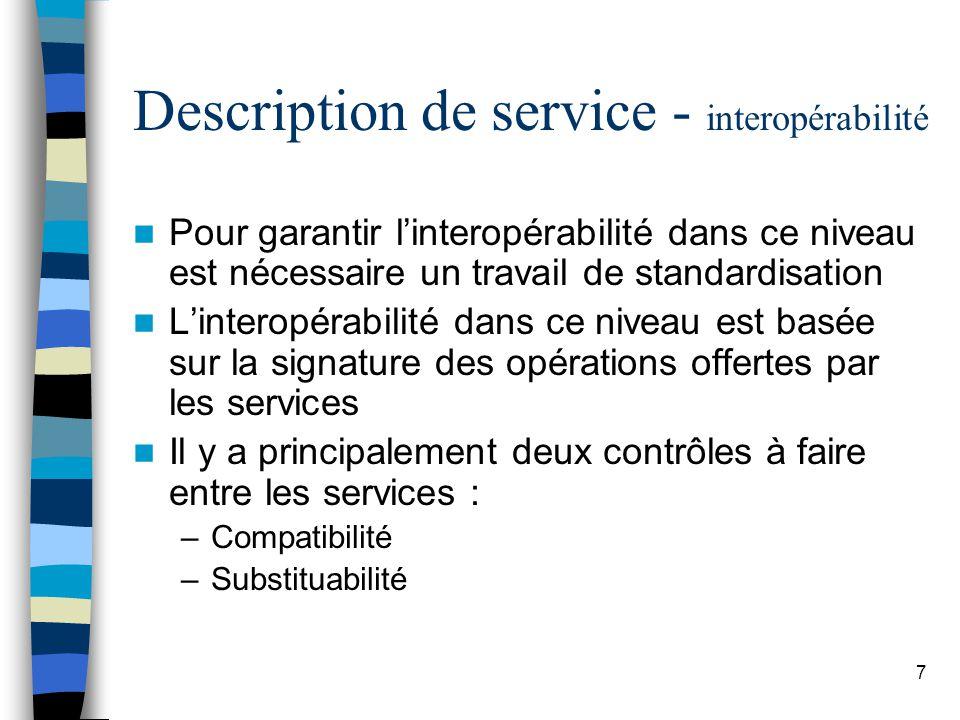 7 Description de service - interopérabilité Pour garantir linteropérabilité dans ce niveau est nécessaire un travail de standardisation Linteropérabilité dans ce niveau est basée sur la signature des opérations offertes par les services Il y a principalement deux contrôles à faire entre les services : –Compatibilité –Substituabilité