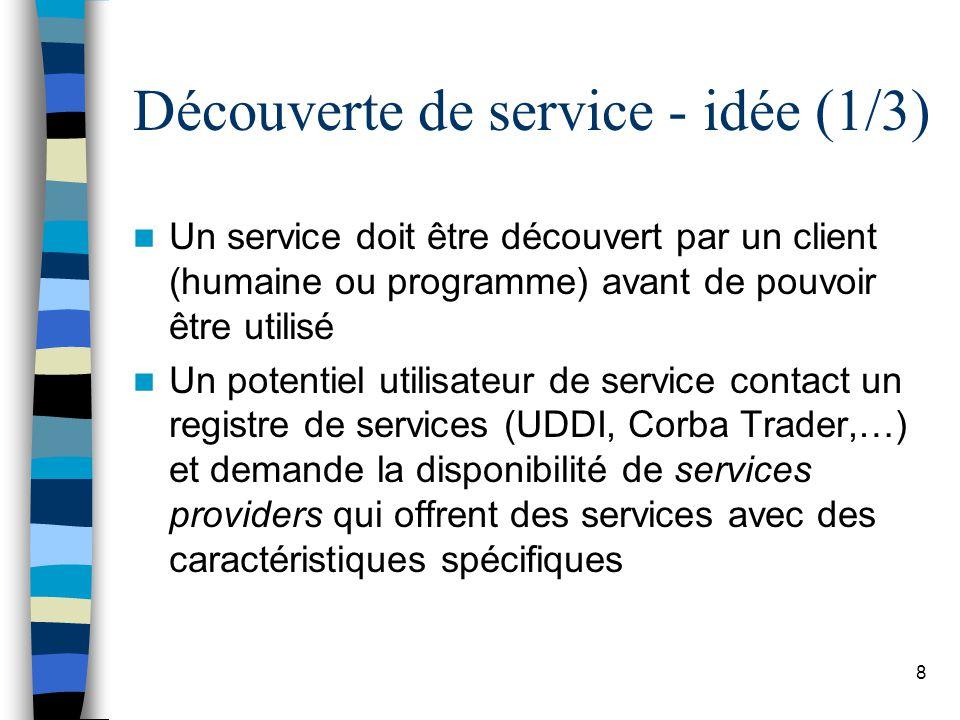 8 Découverte de service - idée (1/3) Un service doit être découvert par un client (humaine ou programme) avant de pouvoir être utilisé Un potentiel ut
