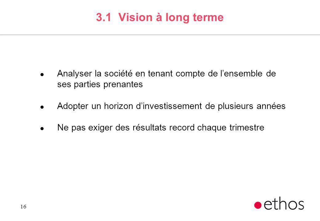 16 3.1 Vision à long terme l Analyser la société en tenant compte de lensemble de ses parties prenantes l Adopter un horizon dinvestissement de plusie