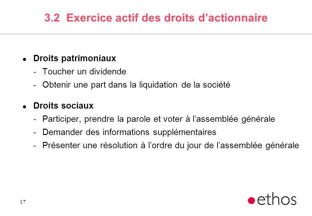17 3.2 Exercice actif des droits dactionnaire l Droits patrimoniaux -Toucher un dividende -Obtenir une part dans la liquidation de la société l Droits