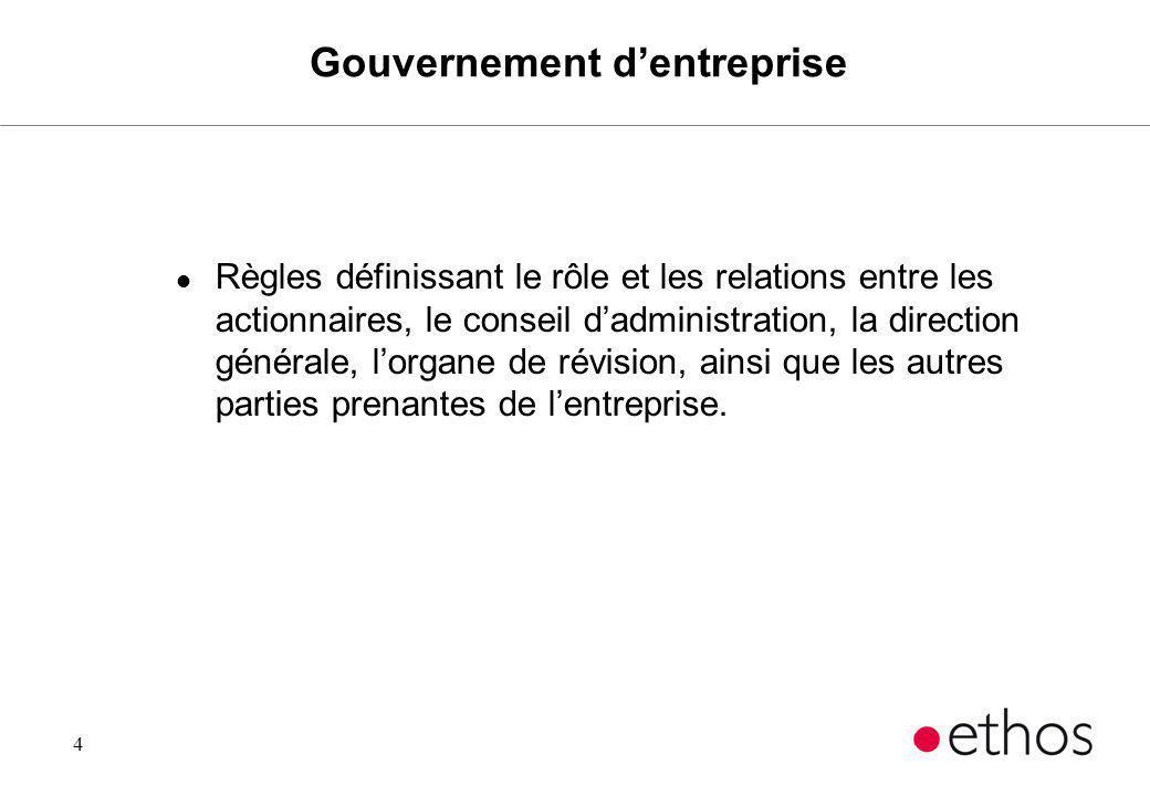4 Gouvernement dentreprise l Règles définissant le rôle et les relations entre les actionnaires, le conseil dadministration, la direction générale, lo