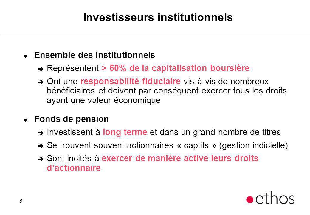 5 Investisseurs institutionnels l Ensemble des institutionnels è Représentent > 50% de la capitalisation boursière è Ont une responsabilité fiduciaire