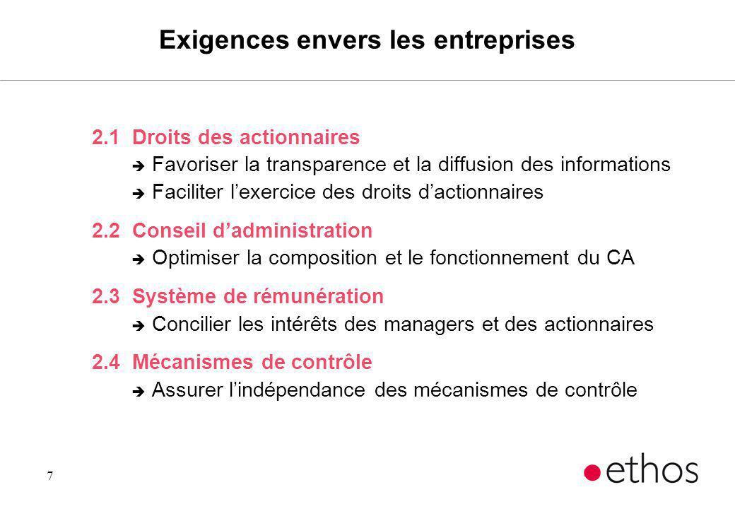 7 Exigences envers les entreprises 2.1 Droits des actionnaires è Favoriser la transparence et la diffusion des informations è Faciliter lexercice des