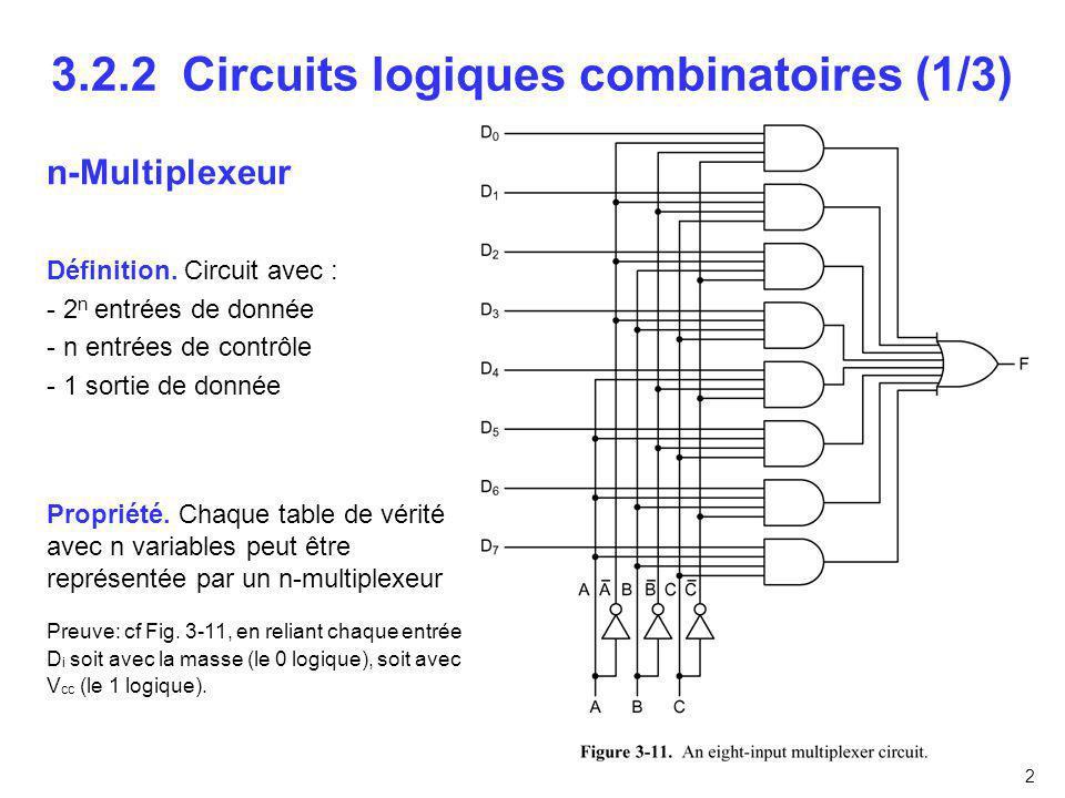 2 3.2.2 Circuits logiques combinatoires (1/3) n-Multiplexeur Définition. Circuit avec : - 2 n entrées de donnée - n entrées de contrôle - 1 sortie de
