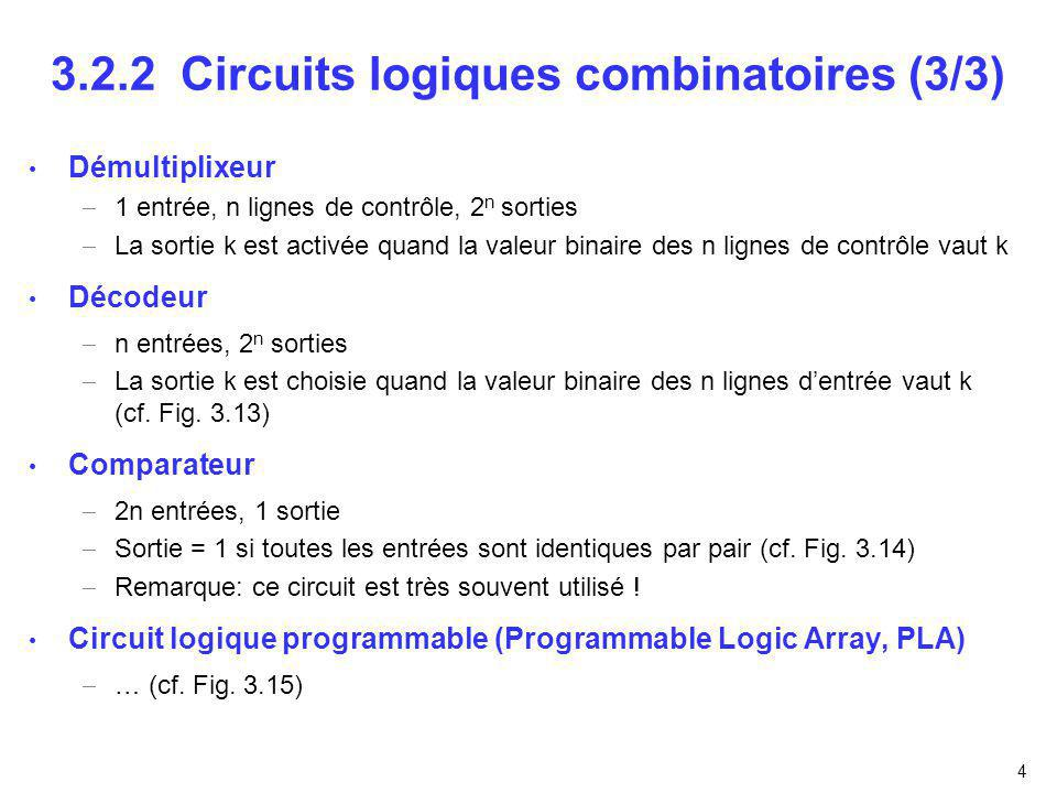 4 3.2.2 Circuits logiques combinatoires (3/3) Démultiplixeur 1 entrée, n lignes de contrôle, 2 n sorties La sortie k est activée quand la valeur binaire des n lignes de contrôle vaut k Décodeur n entrées, 2 n sorties La sortie k est choisie quand la valeur binaire des n lignes dentrée vaut k (cf.
