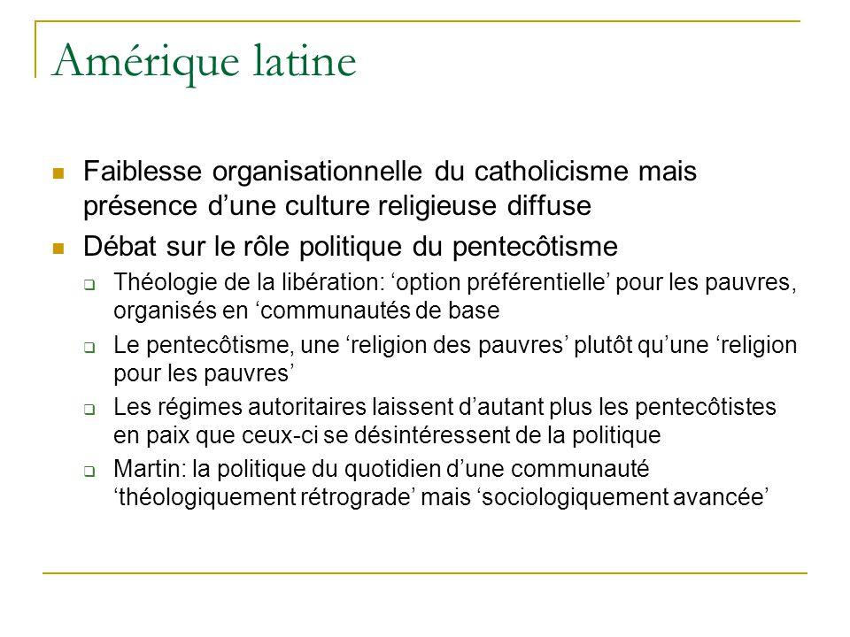 Amérique latine Faiblesse organisationnelle du catholicisme mais présence dune culture religieuse diffuse Débat sur le rôle politique du pentecôtisme